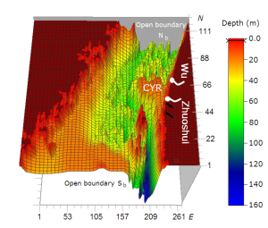 Effects of bottom topography on dynamics of river discharges