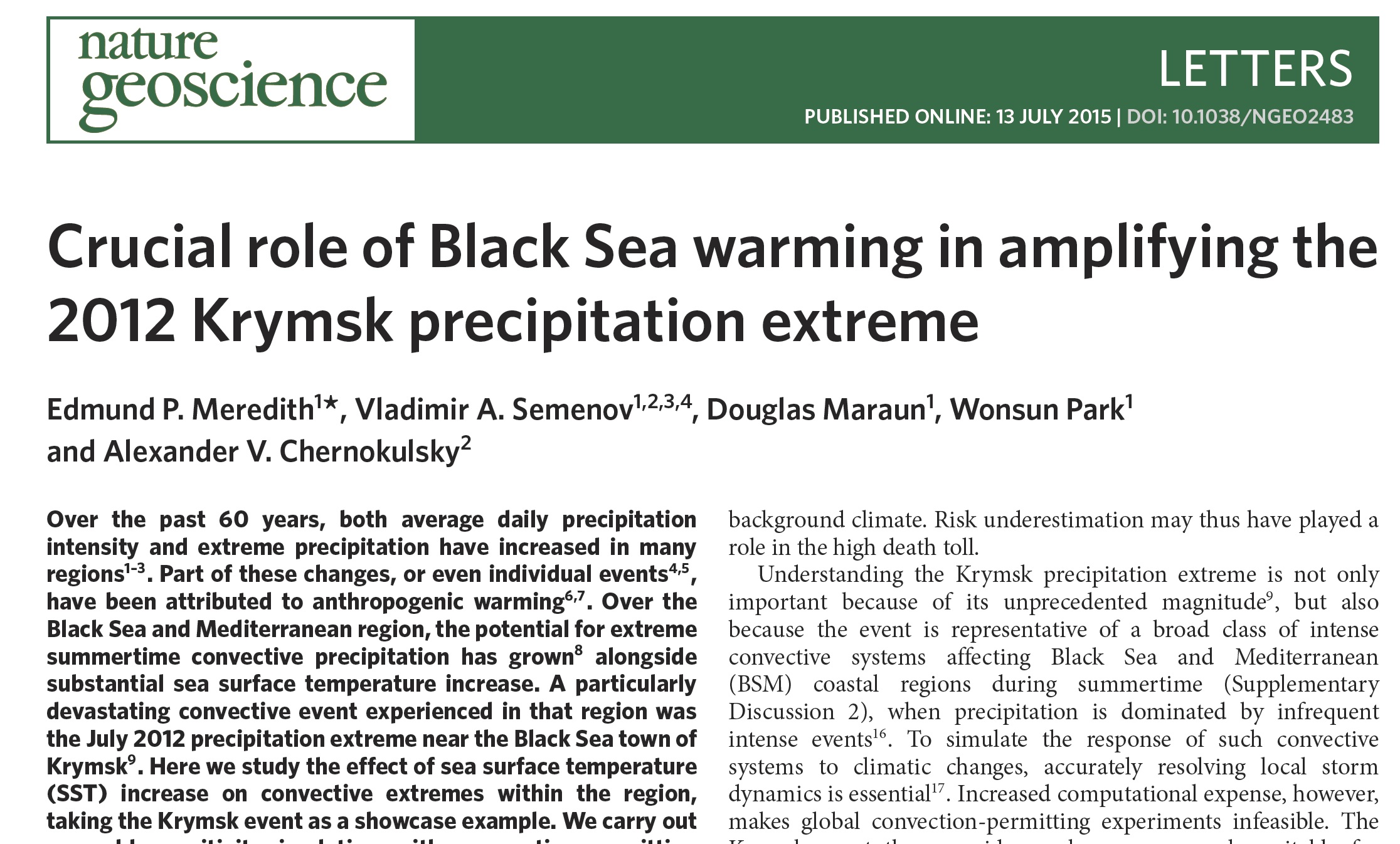 Crucial role of Black Sea warming in amplifying the 2012 Krymsk precipitation extreme